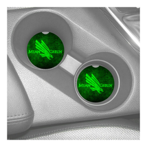 NORTH TEXAS MEAN GREEN RUBBER CAR COASTERS SET (2) Conference USA - $8.86