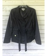 Rain Jacket ANN TAYLOR Black Trench Coat Lined Womens Size M - $20.00