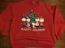 Vintage Tultex Peanuts Snoopy Holiday Xmas Season Sweatshirt Size Large ... - $38.48