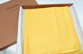 Louis Vuitton Monogram Scarf Yellow Silk 86 cm Shawl Stole LV with Box Authentic - $382.36