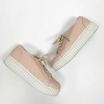 MICHAEL Michael Kors Girls Blush Pink Signature Logo Lace Up Sneakers Size 2 - $19.29