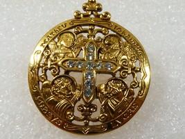 Treasure from Vatican Sistine Salon Saints shield crystal cross Pin Brooch - $45.54
