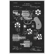 Weapons Patent Print, Revolver Patent Blueprint , Snub Nose Photo Art - $11.39+