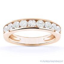 Round Cut Moissanite Channel-Set Anniversary Ring Wedding Band in 14k Ro... - €403,88 EUR+