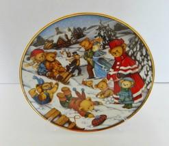 Franklin Mint Collector Plate Teddy Bear Winter Frolic  Art by Carol Lawson COA - $12.86
