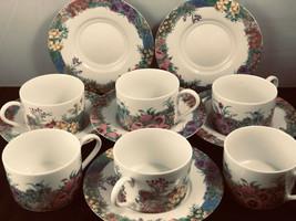 Nikko Fine China Cups & saucers 12 PC Set Secret Garden Porcelain Floral - $41.58