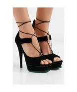 Saint Laurent Green Velvet Ankle Wrap Leather Strappy Platform Pumps 39 NIB - $588.56