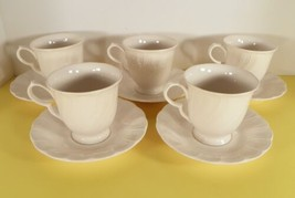 Nikko WHITE SATIN Cup and Saucer Set (s) LOT OF 5 Blossomtime Retired Swirl - $24.70