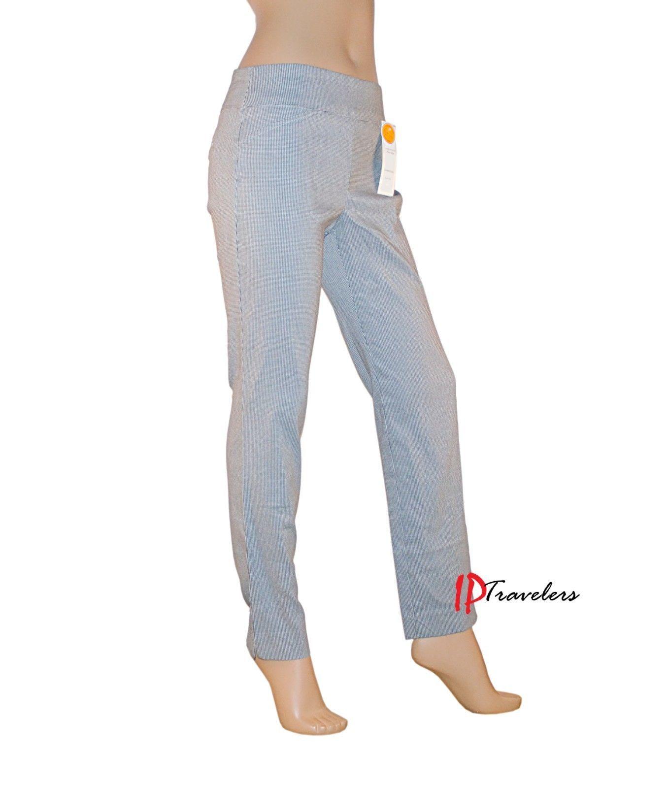 Charter Club Women's Pants Black and White Slim Leg Waist Smoothing $69.50