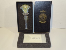 Rosenthal Versace Clear Frosted Crystal Medusa Wine Bottle Stopper - $39.59