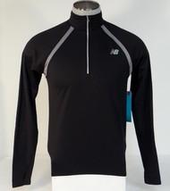 New Balance NB Dry NB Heat Black 1/2 Zip Long Sleeve Running Shirt Men's NWT - $56.24