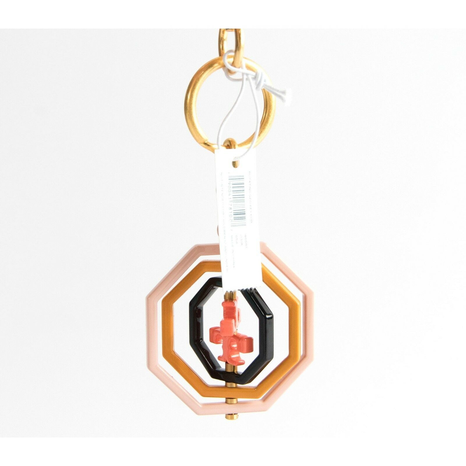 Tory Burch Octagon Acrylic Enamel Spinning Large Bag Charm Key Chain NWT image 4