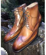 Handmade Fashion Casual Wing Tip Ankle High Tan Leather boots - $159.97+