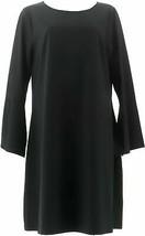 Laurie Felt Bell Slv Dress Black 1X NEW A309542 - $17.79