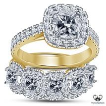 Cushion Cut Diamond Pure 925 Silver 18k Gold Plated Bridal Engagement Ring Set - $99.89