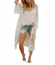 Jeasona Women's Bathing Suit Kimono Beach Cover Up Lace Crochet Pool Swi... - $40.35