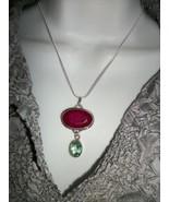HANDMADE Cherry Ruby+BLUE TOPAZ  925 Sterling Silver PENDANT NECKLACE  V... - $27.72