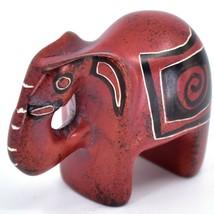 Crafts Caravan Hand Carved Red & Black Soapstone Elephant Figurine Made in Kenya image 2