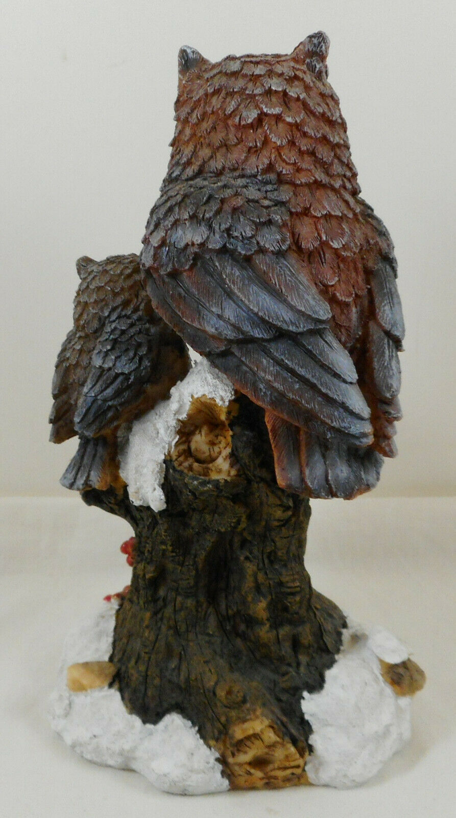 """Resin Owl Figurine Mama Baby Perched on Tree 7"""""""