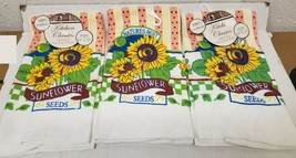 "3 SAME PRINTED VELOUR KITCHEN TOWELS, 15""x25"", NATURE'S BEST,SUNFLOWERS ... - $14.84"