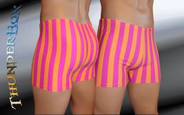 Thunderbox Nylon Spandex Mens Orange & Fuchsia Stripe Titan Shorts S -XL - $20.00