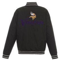 NFL Minnesota Vikings Poly Twill Jacket Black  With Two Patch Logos  JH Design - $129.99