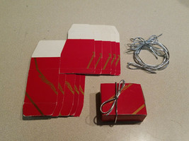 Vintage Set of 6 Cardboard Red & Gold Giftbox w/ Silver Expandable Tie Bow - $9.85