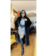 Mint Designer Swing Antonovich Full length Black velvet Mink Fur coat  S... - $1,979.99