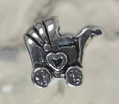NICE Baby shower stroller sterling silver charm bead jewelry - $19.27