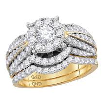 14k Yellow Gold Diamond Round Bridal Wedding Engagement Ring Set 1-3/4 - £2,551.45 GBP