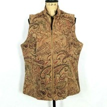 Womens White Stag Vest Full Zip Tapestry Paisley Floral Lined Sz XL 16 18 - $30.63