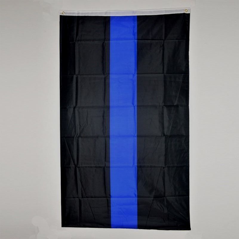 "Flag 3X5 3'X5"" 90X150 cm Thick Blue line Support your Police Law Enforcement"
