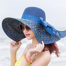 Women Colorful Big Brim Straw Bow Hat Sun Floppy Wide Brim Hats Beach Cap Colorf image 5