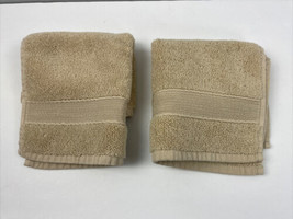 Pottery Barn Washcloth Set of 2 Khaki Tan Bath Made in Turkey Thick 100%... - $17.82