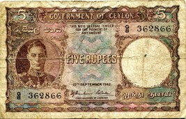 1942 Ceylon 5 Rupie Governo di Ceylon Carta Soldi Currency Banca Nota - $146.89