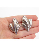 MEXICO 925 Sterling Silver - Vintage Shiny Fluted Design Drop Earrings -... - $33.81