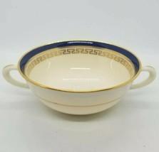 Rare Antique Lenox Etruscan Cream Soup Bowl Cobalt Blue w Greek Key Green Mark  - $98.01