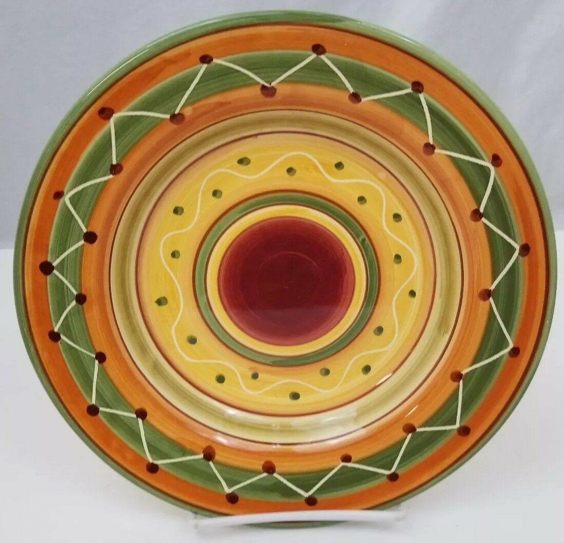 """Pier 1 Etrusco 9.5"""" Soup Pasta Bowl Handpainted Dishwasher Safe Made Italy"""