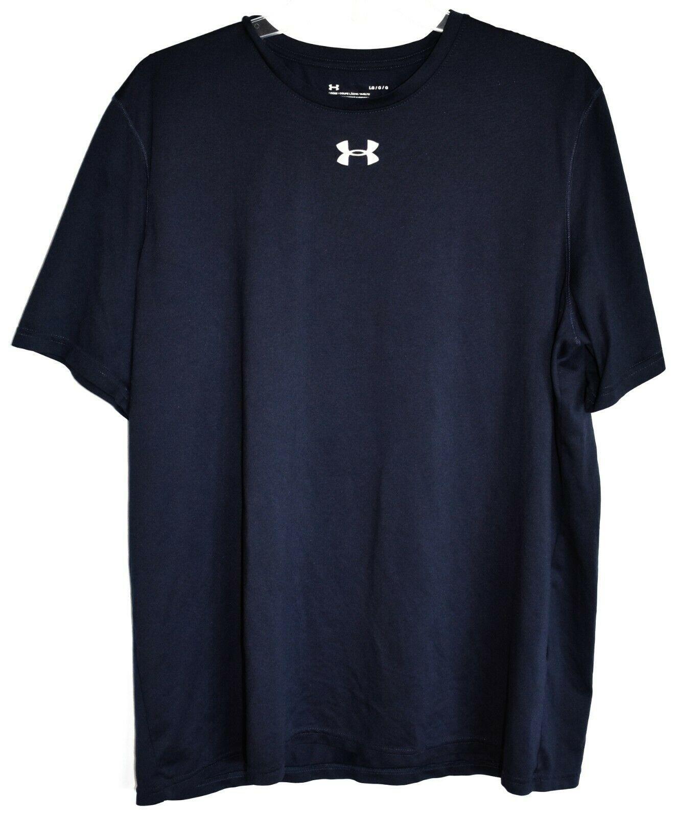 Under Armour Men's Loose HeatGear Navy Blue Short Sleeve T-Shirt Size L