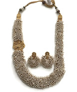 Pearls & Lakshmi Ji Coins Pendants Necklace Earring Set Indian jewelry n... - $56.99