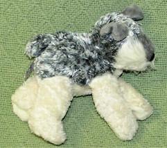 "Aurora World Mini Flopsies 6"" Schnauzer Dog B EAN Bag Stuffed Animal Grey Ivory - $9.90"