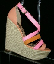 Jessica Simpson pink orange leather buckle espadrille platform wedges 6B 36 - $37.04