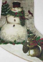 Snowman, Squirrel, Cardinals Christmas Stocking Old Fashioned Look Count... - $12.99