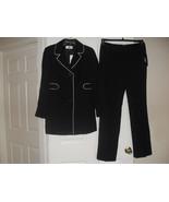 Le Suit Cannes New Womens Black/Vanilla Ice Notch Collar Jacket Pant Sui... - $52.46
