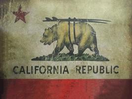 California Republic Bear Surfing Rustic Vintage Metal Sign - $19.95