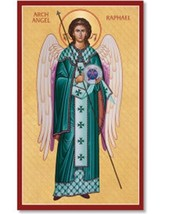"Archangel Raphael Icon 6.5"" x 10"" Wooden Plaque With Lumina Gold"