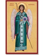 "Archangel Raphael Icon 6.5"" x 10"" Wooden Plaque With Lumina Gold - $49.95"