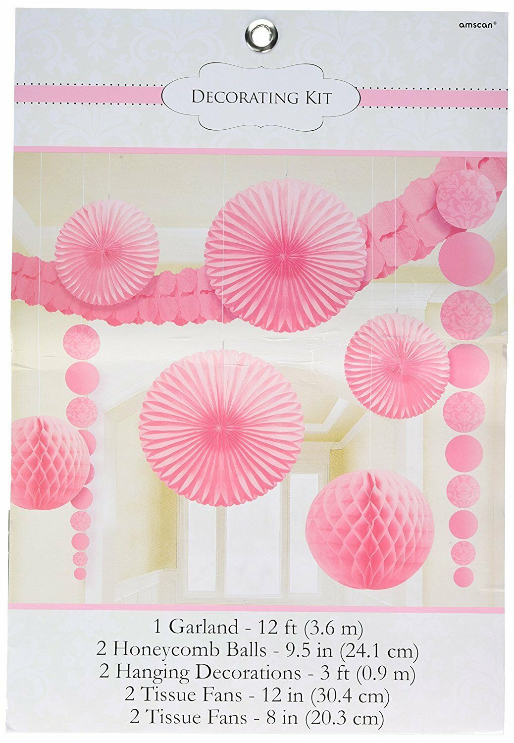 Classy Damask Party Decorating Kit, New Pink, Paper, (Pack of 9) Wedding