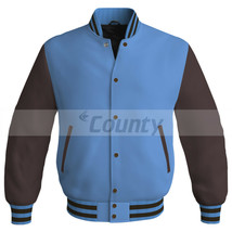New Super Letterman Baseball College Bomber Jacket Sports Sky Blue Brown... - $49.98+