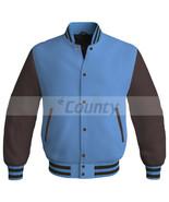 New Super Letterman Baseball College Bomber Jacket Sports Sky Blue Brown... - $49.98+